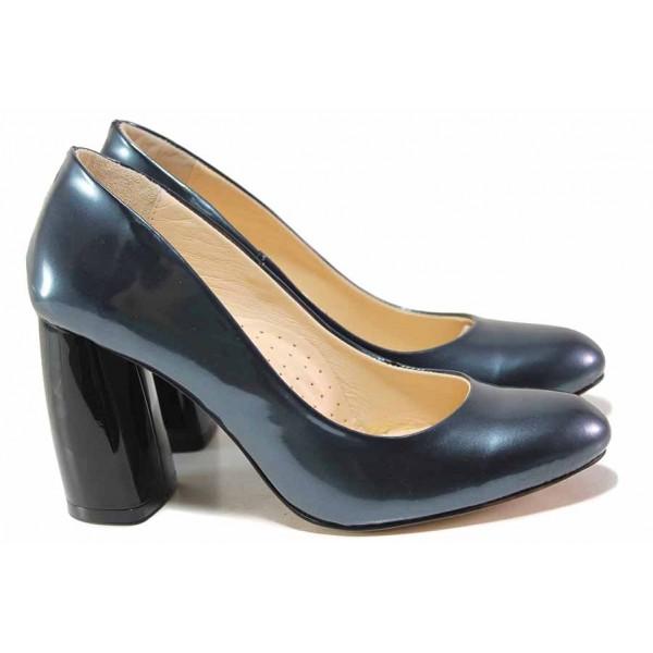 Елегантни дамски обувки, естествена лачена кожа, анатомични, висок извит ток / Ани 2573 син лак / MES.BG