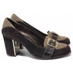 Класическа дамска обувка, декоративна катарама, естествен велур, облечен ток, анатомични / Ани 1892 кафяв-бежов / MES.BG