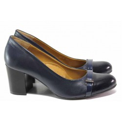Модни дамски обувки, естествена кожа, среден ток, анатомични, български / Ани 2568 син кожа-лак / MES.BG