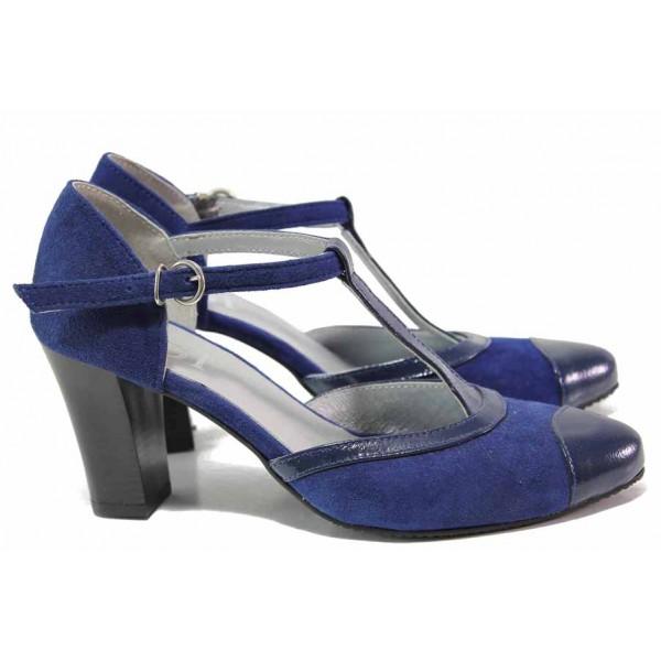 Летни обувки на висок ток, дамски, естествен велур и лак, анатомични, стилни / Ани 51601 син велур-лак / MES.BG