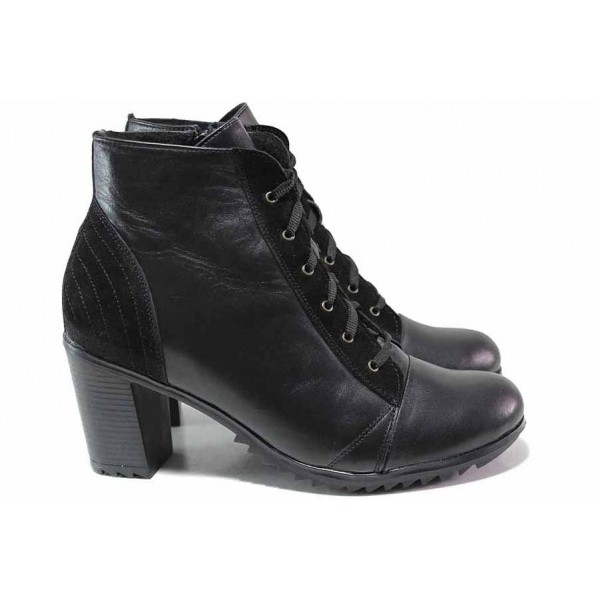 Стилни дамски боти, естествен велур и кожа, висок ток, български, анатомични / Ани 164-6222 черен кожа-велур / MES.BG