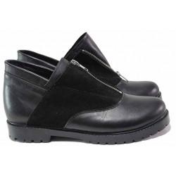 Равни обувки, дамски, естествена кожа и велур, разчупен дизайн, анатомични, български / Ани 293-1711 черен / MES.BG