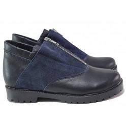Дамски обувки, естествена кожа и велур, равни, анатомични, български / Ани 293-1711 син / MES.BG
