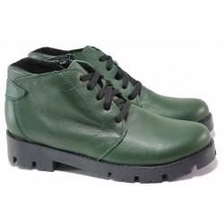 Зелени дамски боти, анатомични, български, кларк, топли, естествена кожа / Ани 92-1717 зелен кожа / MES.BG