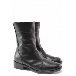 Равни дамски боти, естествена кожа, антомични, топли, за слаб крак / Ани 100-4245 черен / MES.BG