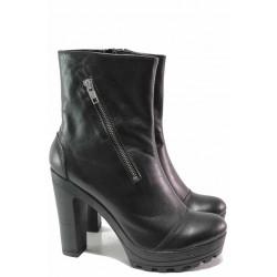 Стилни дамски боти, естествена кожа, декоративен цип / Ани 218-15493 черен / MES.BG