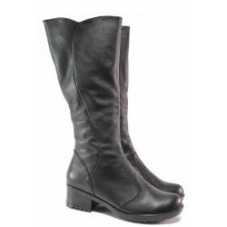 Български анатомични ботуши с топъл хастар, естествена кожа, излято ходило / Ани 98-6658 черен / MES.BG