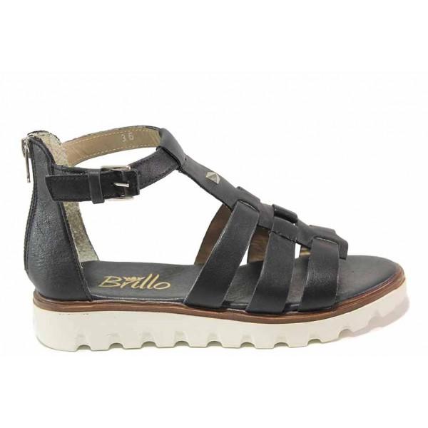 Равни дамски сандали, естествена кожа, затворена пета / Ани 2084 черен / MES.BG