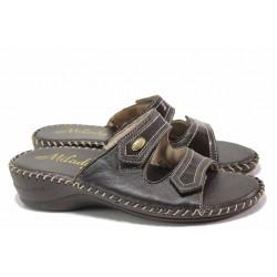 Анатомични дамски чехли, естествена кожа, велкро лепенки / Ани 1800 кафяв / MES.BG