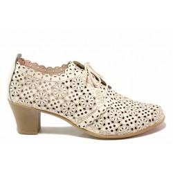 Български анатомични обувки на дупки, естествена кожа, връзки / Ани С-1 бежов / MES.BG
