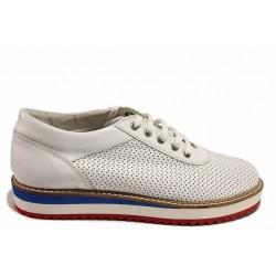 Дамски спортни обувки, естествена кожа, олекотено ходило / Ани 1458 бял / MES.BG