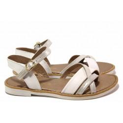 Равни дамски сандали, естествена кожа, катарама, български / Ани Liberika-05 бял / MES.BG