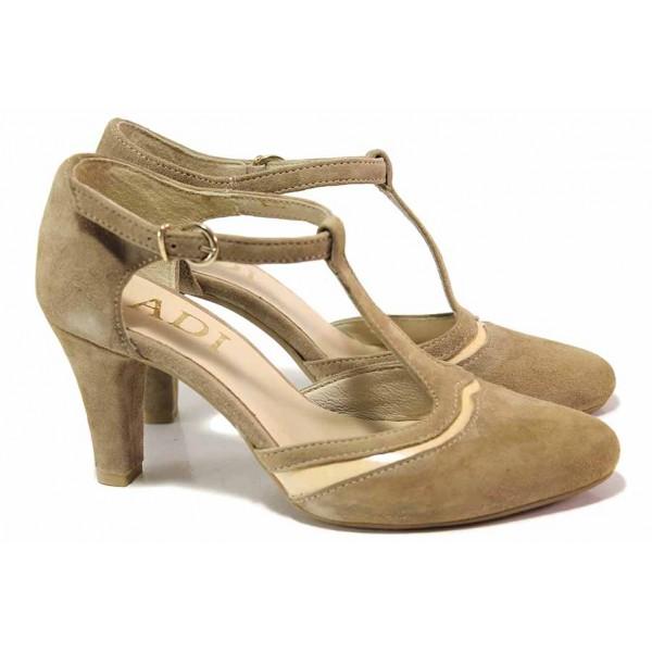 Дамски велурени обувки, облечен ток, катарама / Ани 51600 таупе / MES.BG