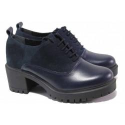 Актуален модел дамски обувки, естествена кожа и велур, излято ходило с грайфер / Ани VERONA-01 син / MES.BG