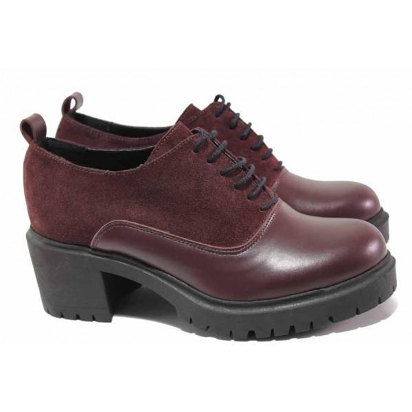Анатомични дамски обувки на среден ток, естествена кожа и велур, грайфер / Ани VERONA-01 бордо / MES.BG