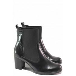 Стилни дамски боти за широк глезен, естествена кожа, стабилен ток / Ани 2166 черен / MES.BG