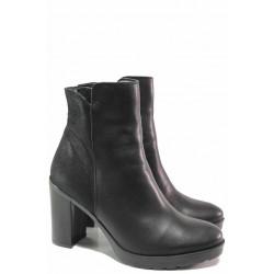 Стилни дамски боти от естествена кожа, стабилен висок ток, семпла визия / Ани 2754 черен / MES.BG
