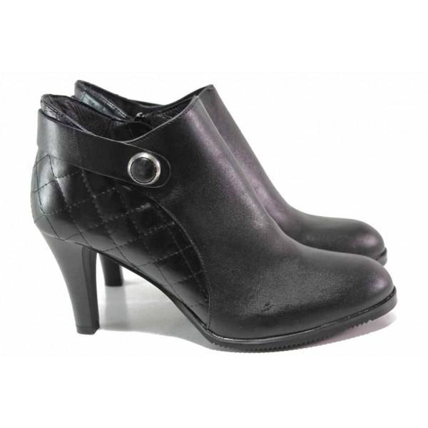 Стилни дамски боти изцяло от естествена кожа, висок ток, интересен акцент / Ани 53752 черен / MES.BG