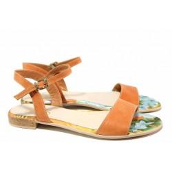 Равни дамски сандали, естествена кожа, анатомични, български, апликации на цветя, олекотени / Ани 2615 оранж / MES.BG