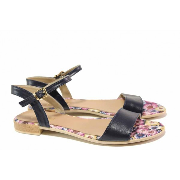 Атрактивни дамски сандали, равни, анатомични, български, естествена кожа, флорални мотиви, ежедневни / Ани 2615 син / MES.BG