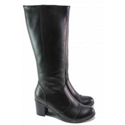 Български дамски ботуши, естествена кожа, анатомични, зимни, среден ток / Ани 250-18309 черен / MES.BG