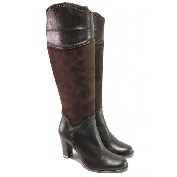 Модерни дамски ботуши, естествена кожа и естествен велур, анатомични ходила, висок ток, стабилни, топли / Ани 1414 кафяв / MES.BG