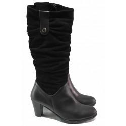 Високи дамски ботуши, естествена кожа и велур, анатомични, удобен ток, български / Ани 33561 черен велур-кожа / MES.BG