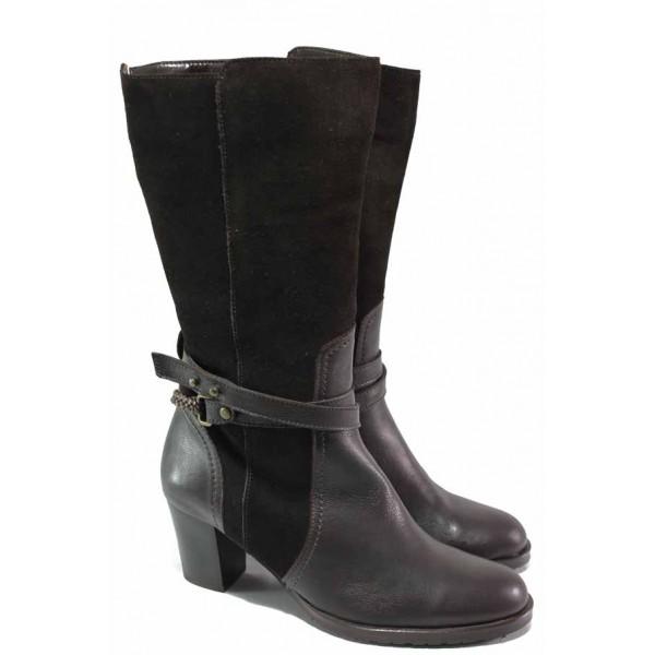 Стилни дамски ботуши, естествена кожа и естествен велур, български, декоративни коланчета на глезена, анатомични, висок ток / Ани 43562 кафяв / MES.BG