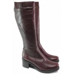 Практични дамски ботуши, естествена кожа, анатомични, български, топли, стабилен ток / Ани INNA-01 бордо / MES.BG