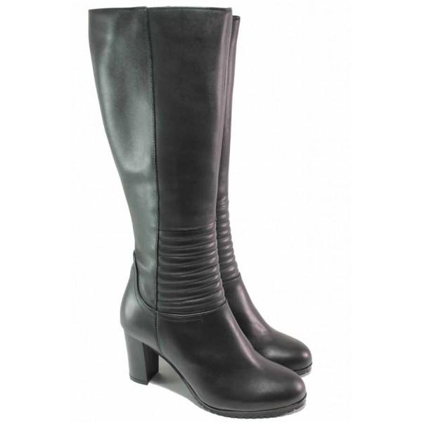 Модерни дамски ботуши, естествена кожа, анатомични, висок ток, топли / Ани 33700 черен / MES.BG