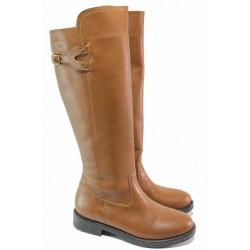 Дамски ботуши, естествена кожа, анатомични, зимни, български, равни, класически модел / Ани KANN-03 карамел / MES.BG