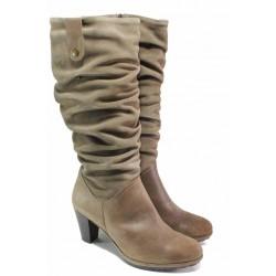 Анатомични дамски ботуши, естествен велур, български, топли, стабилен висок ток, стилни / Ани 33561 таупе / MES.BG