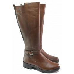 Топли дамски ботуши, зимни, естествена кожа, анатомични, за широк прасец / Ани 2525 кафяв / MES.BG