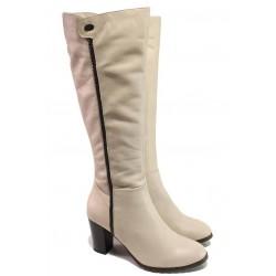 Актуални дамски ботуши, висок ток, анатомични, естествена кожа, български, топли / Ани 63636-797 таупе / MES.BG