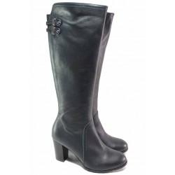 Елегантни дамски ботуши, естествена кожа, български, висок ток, анатомични, цип и ластик за лесно обуване / Ани 73705-797 т.син / MES.BG