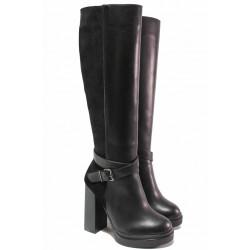 Елегантни дамски ботуши, естествена кожа и естествен набук, анатомични, висок ток, български, платформа, за слаб крак / Ани 2401 черен / MES.BG