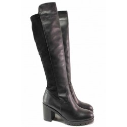 Дамски ботуши, стреч, анатомични, естествена кожа, български, висок ток / Ани ATILA-01 черен / MES.BG