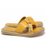 Дамски чехли, гъвкаво ходило, леки, еко-кожа, декоративна текстилна лента / ТЯ 3083 жълт / MES.BG