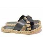 Чехли, еко-кожа с ефектна текстилна лента, пластично ходило, дамски / ТЯ 3083 черен / MES.BG