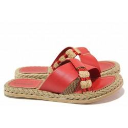 Червени дамски чехли, гъвкава основа, еко-кожа, ежедневни / ТЯ 3083 червен / MES.BG
