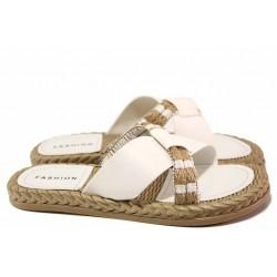 Дамски чехли за всеки ден, еко-кожа, пластично ходило, декорация, олекотени / ТЯ 3083 бял / MES.BG
