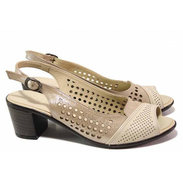 Модни дамски сандали, стабилен ток, естествена кожа с перфорации, блестящ ефект / ТЯ 3006 бежов / MES.BG