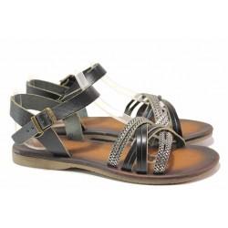 Равни дамски сандали, естествена кожа, гъвкаво ходило / ТЯ 153 черен / MES.BG