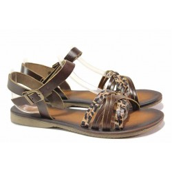 Дамски сандали, равни, естествена кожа, леки, атрактивен тигров ефект / ТЯ 153 кафяв / MES.BG
