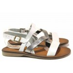Леки дамски сандали, равни, естествена кожа, пластично ходило / МИ 802 бял / MES.BG