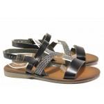 Дамски сандали, равни, естествена кожа, ефект - сребърна лента, леки / ТЯ 151 черен / MES.BG