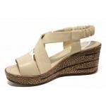 Актуални дамски сандали, платформа, естествена кожа, олекотени, ластик / ТЯ 051 бежов / MES.BG