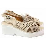 Дамски сандали, естествена кожа, платформа с брокат, леки, перфорация / ТЯ 650 бежов / MES.BG