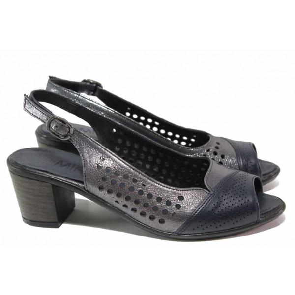 Стилни дамски сандали, среден ток, естествена кожа, перфорации, сатениран ефект, леки / ТЯ 3006 син-сребро / MES.BG