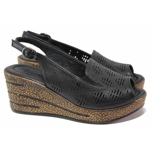 Дамски сандали на платформа, естествена кожа, перфорации, леки / ТЯ 01 черен / MES.BG
